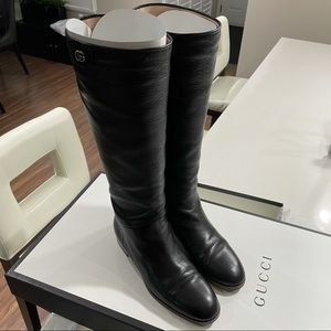 Women's Gucci Leather Long Boots - Black